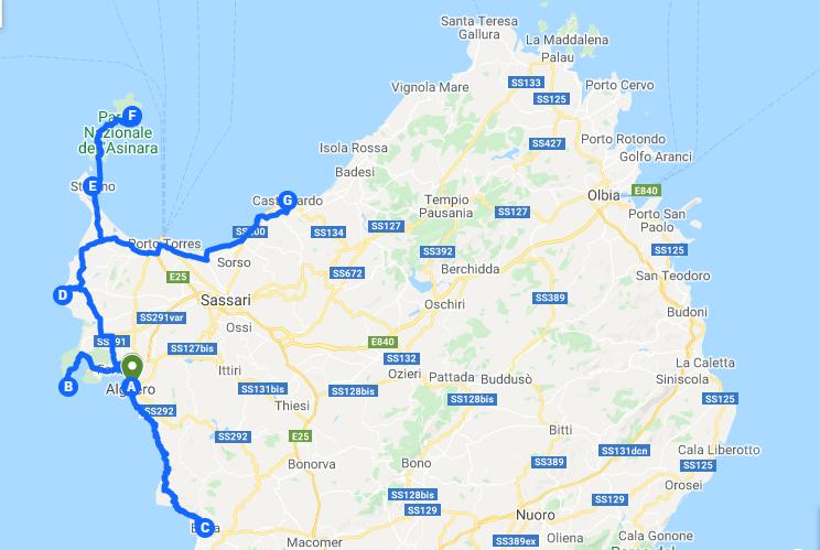 Itinerary North-West Sardinia